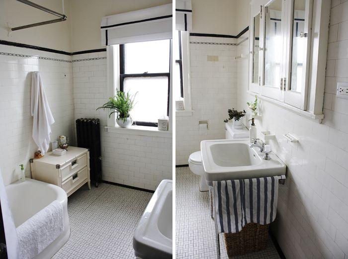 1920s subway tile bathroom - interesting medicine cabinet ...