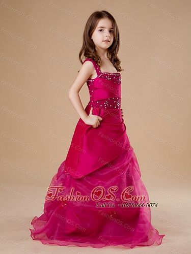 Red Beautiful 2013 Straps Little Girl Pageant Dress Fashionos