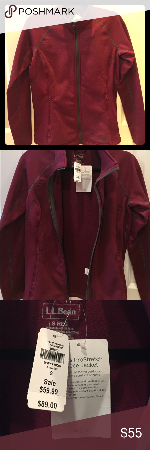Llbean prostretch fleece jacket new burgundy color coats and