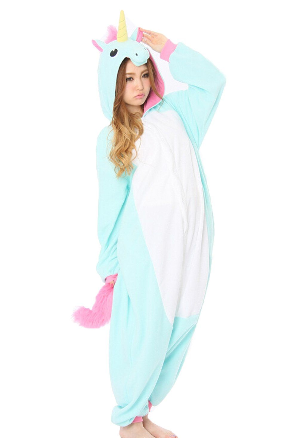 Yarbar Tier Onesies Karneval Halloween Kostüm Nachtwäsche Cosplay Pyjama Erwachsene Unisex Kigurumi Jumpsuit Blaue Einhorn
