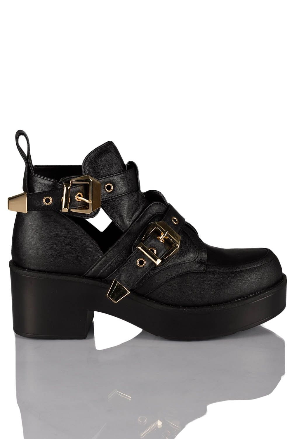 Faux Leather.  Double Buckle Fastening.  Mid Heel Platform With Finger Loop  Light Weight Design  Approx Heel Height: 2.5 inches (7 cm)  Approx Platform Height: 1.5 inches (4 cm)