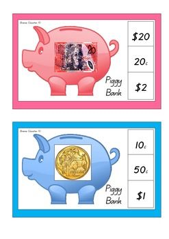 A great independent maths center activity! Students play by identifying the note or coin shown then attempt to find the monetary representation that corresponds with the picture on the right hand side panel.. Players make their choice by clipping a peg onto the correct answer. TIP: In order to make this activity independent I recommend placing a sticker or marking on the back of each correct answer. This allows students to flip over the card and check if they are correct.