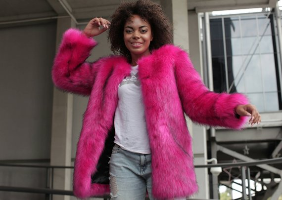 c5b5903173 Bright pink faux fur coat, Shaggy fake fur jacket, Winter coat 2017, Luxury  artificial fur, stylish
