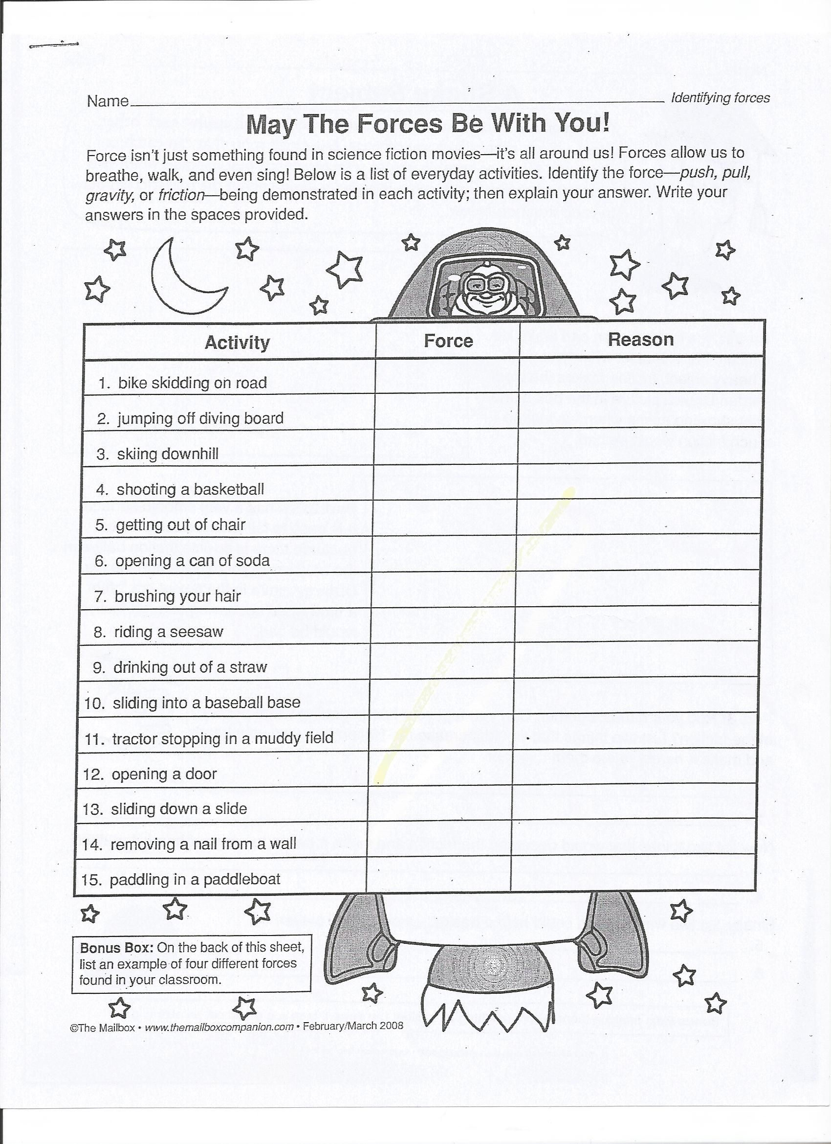 Balanced And Unbalanced Forces Worksheet 13