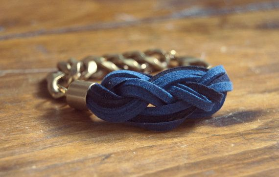 sailor's knot bracelet in blue suede on a big gold chain $37 from ThreadbareSupplyCo on Etsy