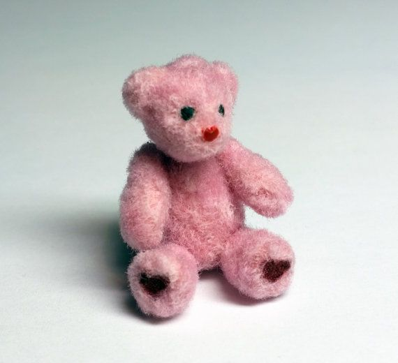 Pink Miniature Teddy Bear Handmade Dollhouse by SaraMadeCreations