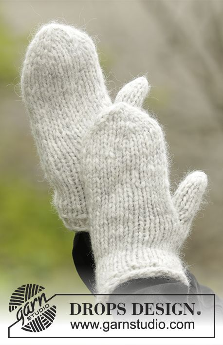 Knitted basic mittens in DROPS Cloud. Size S - L Free pattern by ...