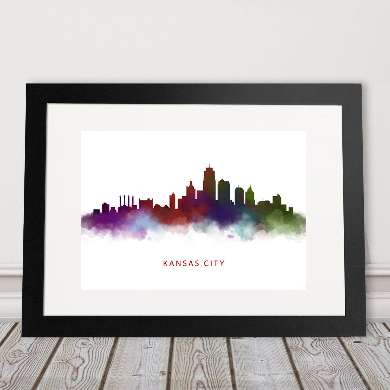 Kansas City Skyline Watercolor Print by LandandLocation