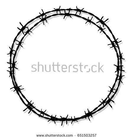 Tattoo Circle Barbed Wire Prison Icon Vector Circle Tattoos Barbed Wire Geometric Line Tattoo