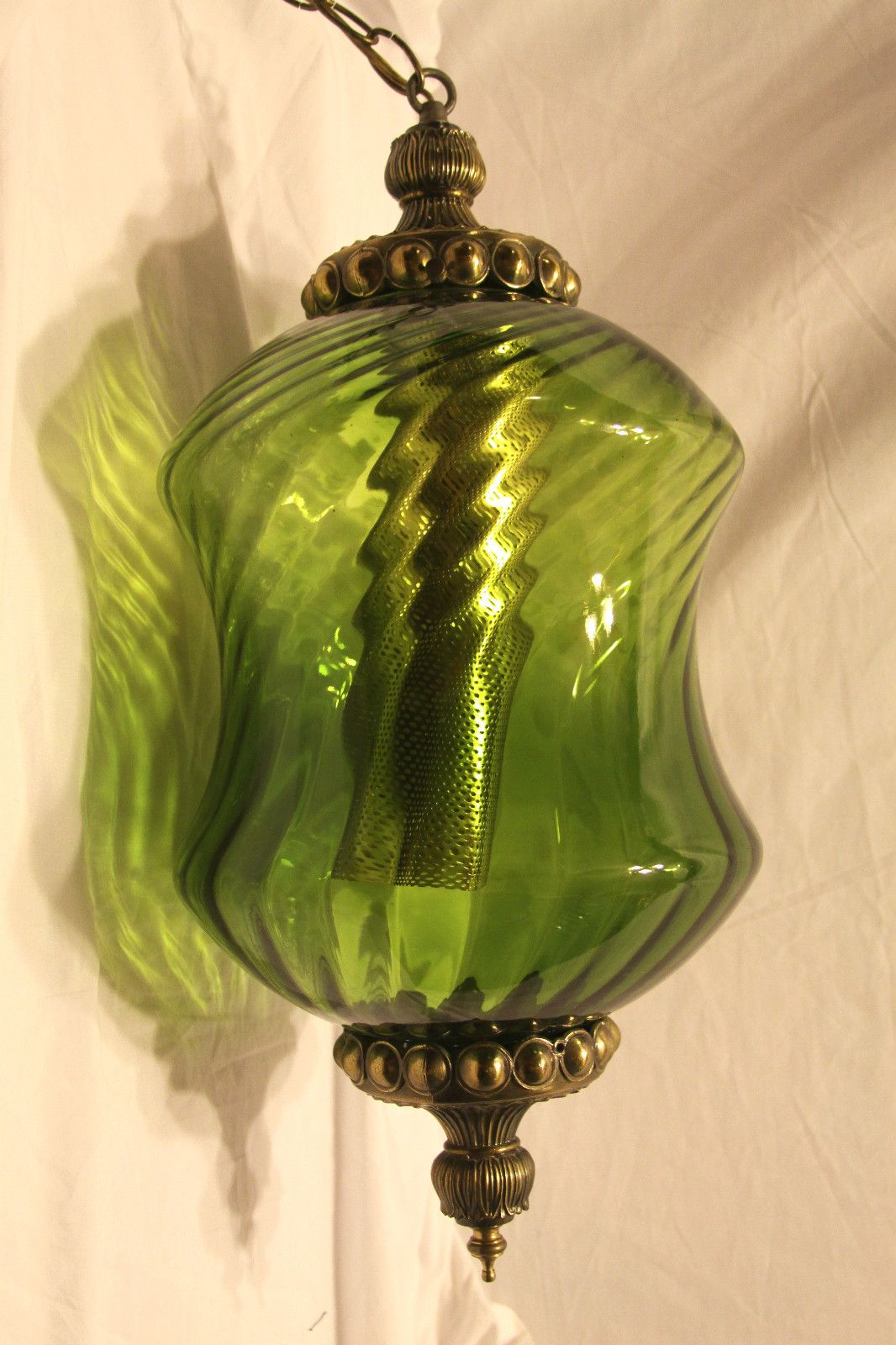 Vtg Eames Era Mid Century Green Glass Hanging Swag Lamp