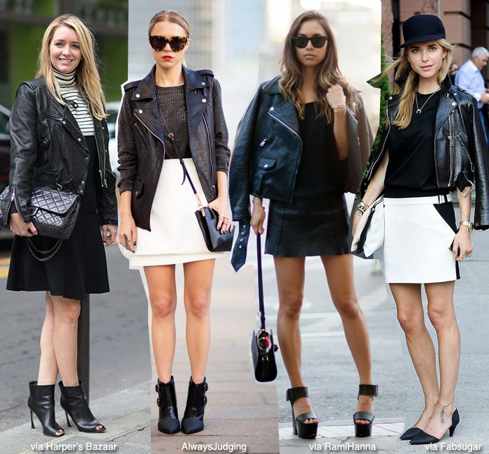 How to Wear: Black Leather Biker Jacket   Skirt (Blue is in ...
