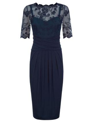 Kaliko Lace & Jersey Dress, Blue