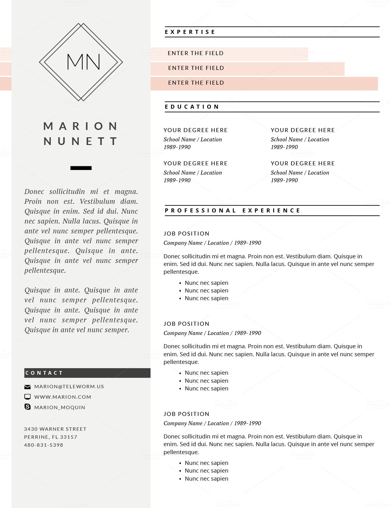 2 Page Resume Template for MS Word Nomes, A boutique