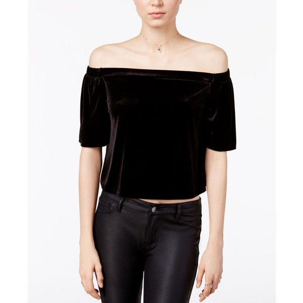Bar Iii Off-The-Shoulder Velvet Top, ($30) ❤ liked on Polyvore featuring tops, deep black, going out tops, off shoulder tops, off the shoulder tops, velvet crop tops and night out tops