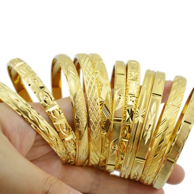 Fashion Dubai gold jewelry 18k gold plated bangles for Ethiopian