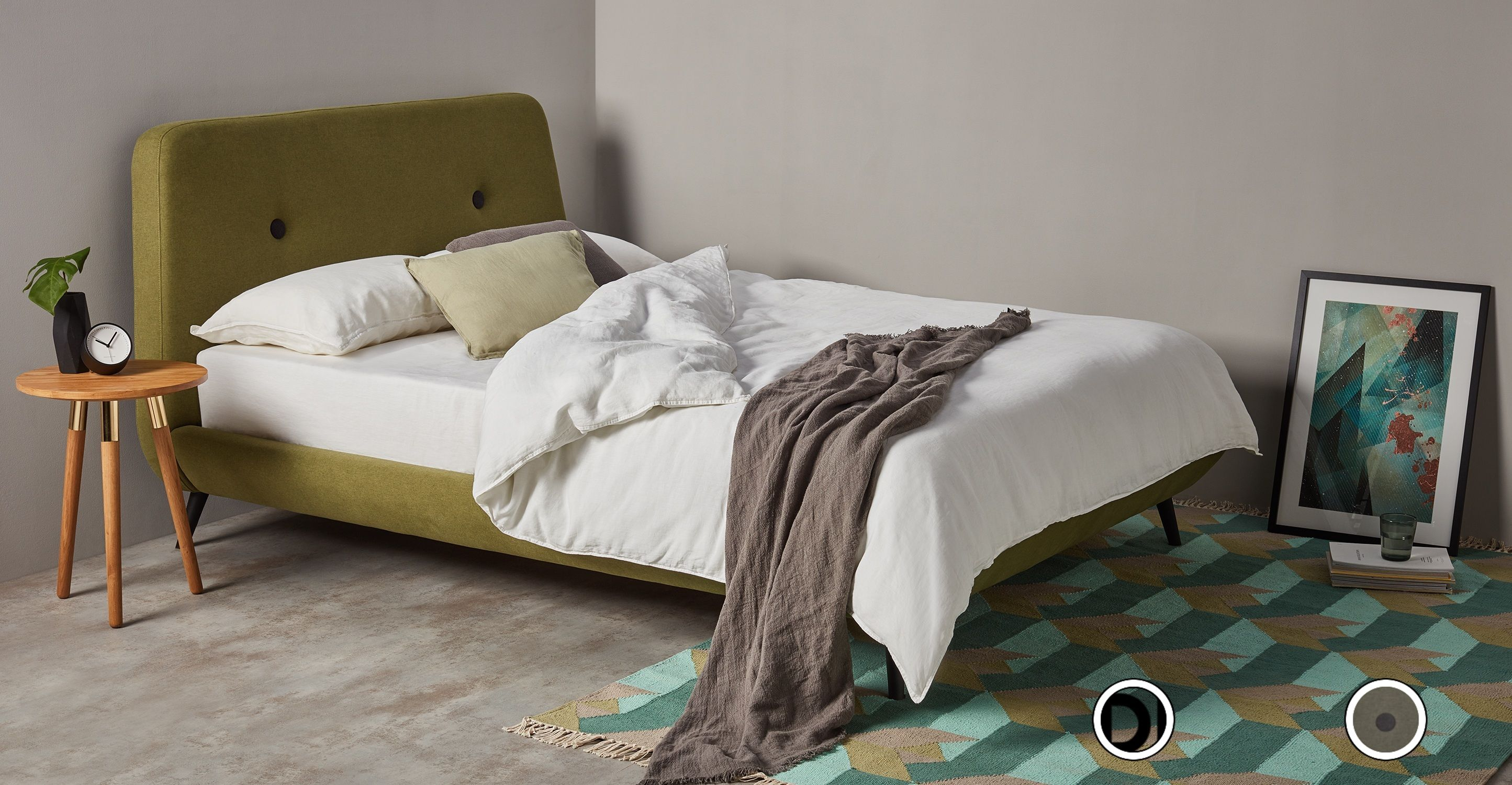 Edwin Double Bed Juniper Green Products Super King Size Bed
