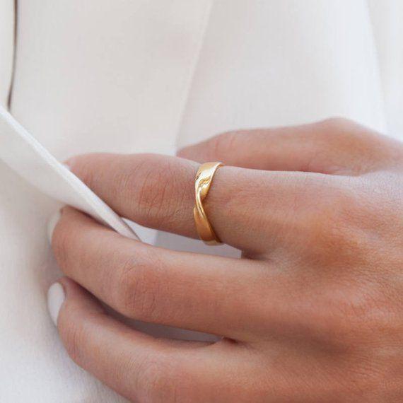 Mobius Ring, Ehering, Gold Infinity Ring, Ehering, Hochzeit Band, Gold Möbius-Band, Verlobungsring, 3,8 mm, Gold Mobius Ring