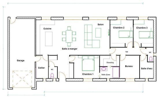 Plans Maison En Photos 2018 \u2013 plan maison 120m2 plain pied House - plans de maison gratuit plain pied