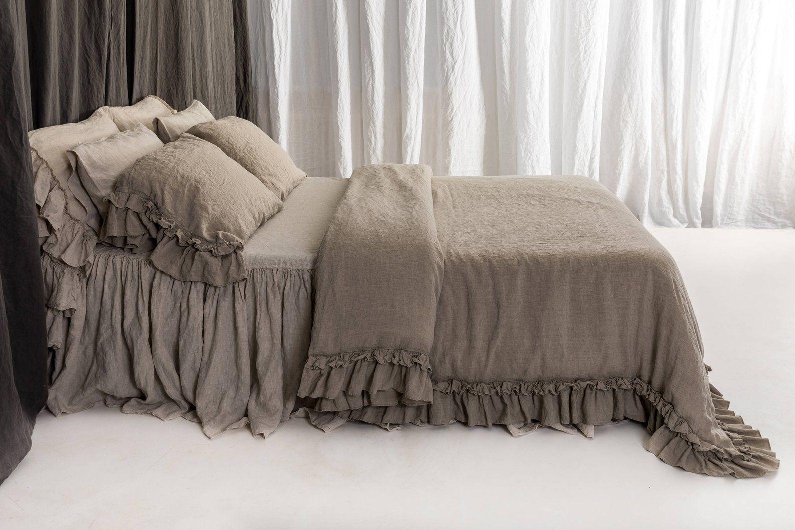 Linen Duvet Cover Set Rustic Style Linen Bedding With Double Etsy Linen Duvet Covers Ruffle Duvet Cover Duvet Cover Sets