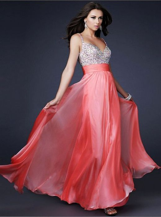 2013 Coral Long Sparkly Top Chiffon Prom Dress Sale [Coral Sparkly ...