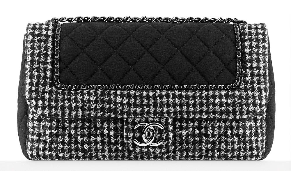 078425b777e5 Chanel Tweed and Jersey Flap Bag Black 3800
