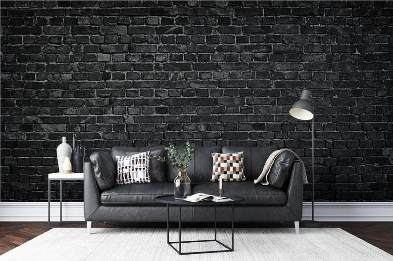 Black Brick Wallpaper Modern Wallpaper Minimalistic Etsy In 2021 Black Brick Wallpaper White Brick Wallpaper Brick Wallpaper