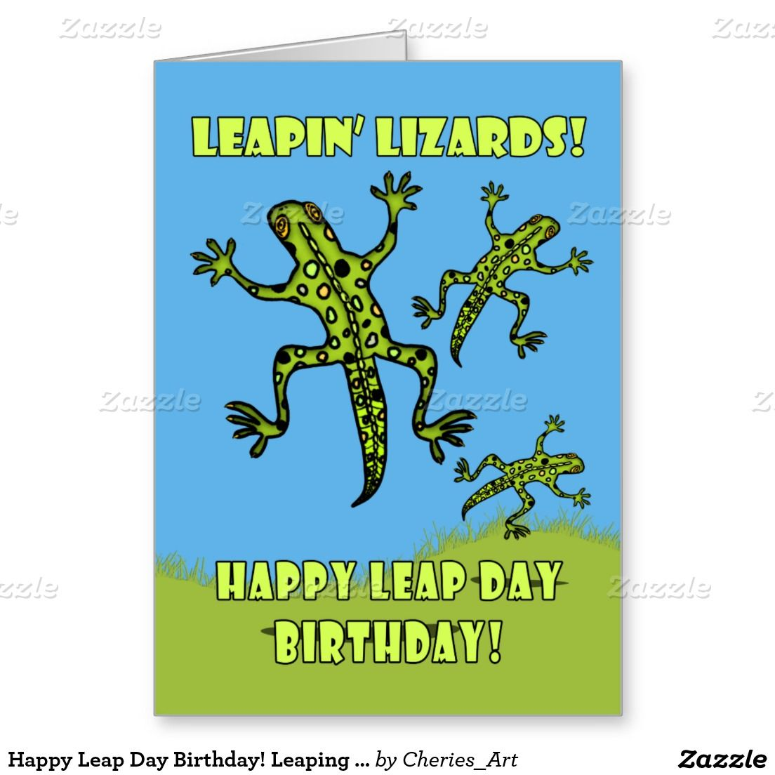 Happy Leap Day Birthday Leaping Lizards Card Lizards And Birthdays