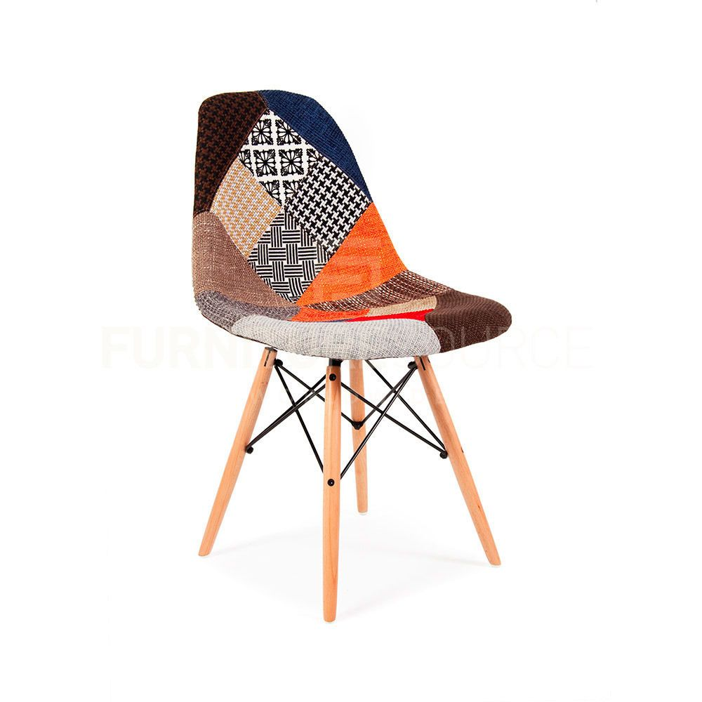 Chaise Design Patchwork Eames Style Dsw Wood Base Mid Century Modern Shell Dining Chair
