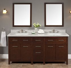 Luxexclusive Double Sinks Wood Vanity With Granite Top And