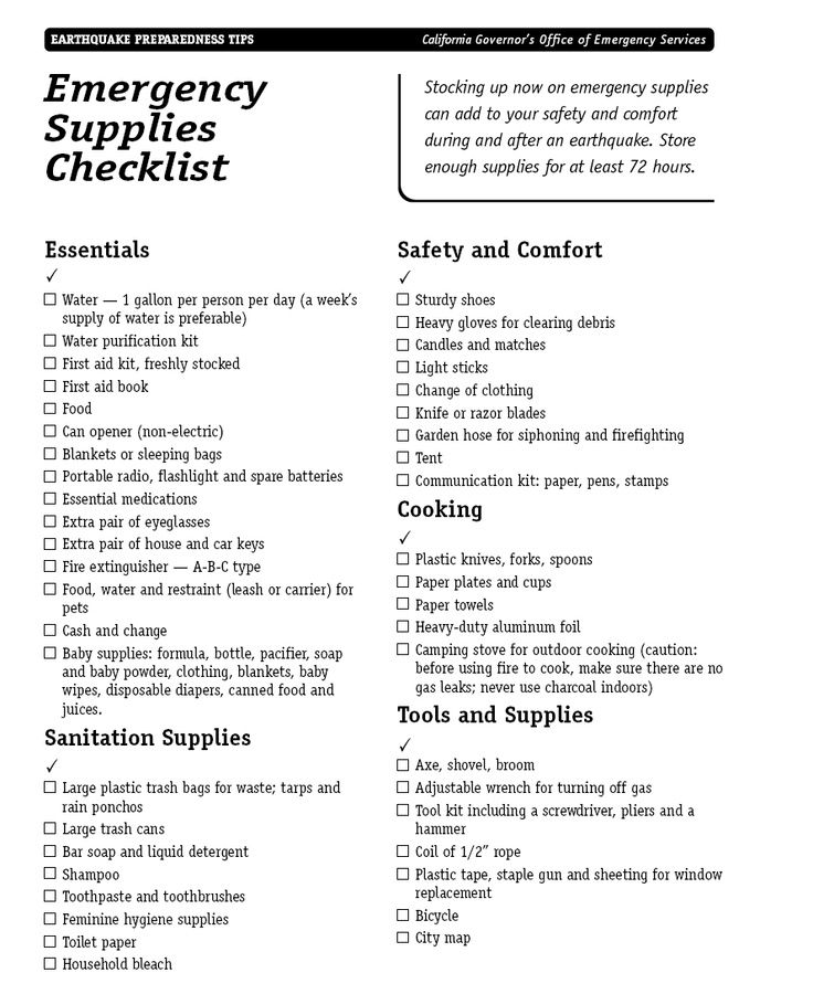 earthquake preparedness checklist if living in california we need to fill this list