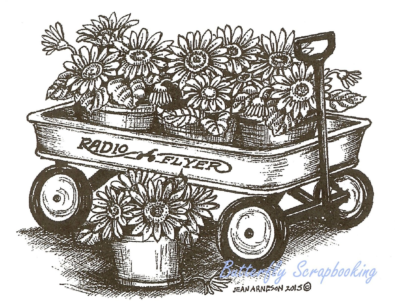 Gerbera Daisy Wagon Wood Mounted Rubber Stamp Northwoods New M9769 Farm Animal Coloring Pages Fall Coloring Pages Animal Coloring Pages