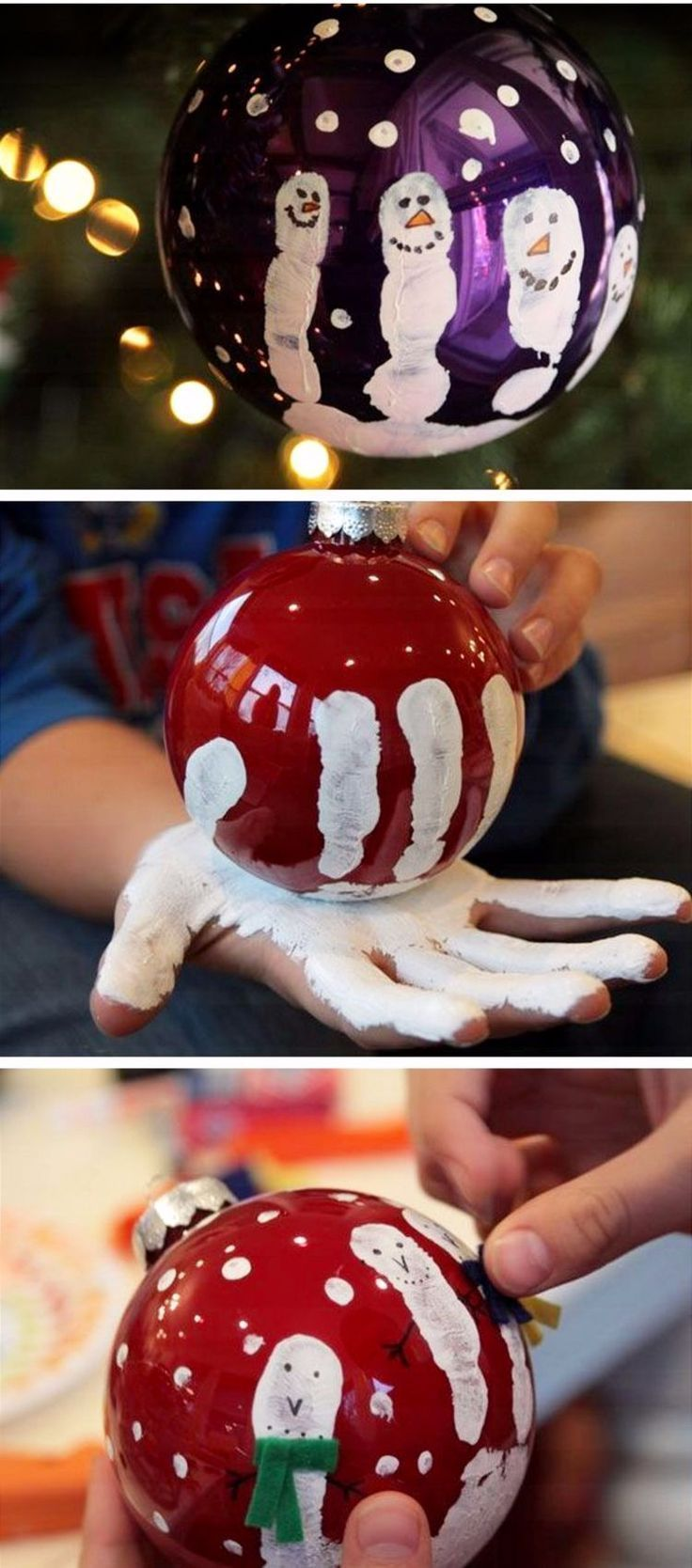DIY Christmas Craft Ideas for Kids - Easy Handprint Ornament for kids to make #craftideasforkidseasy #Christmas #Craft #Crafts #Diy #easy #Kids #Projects