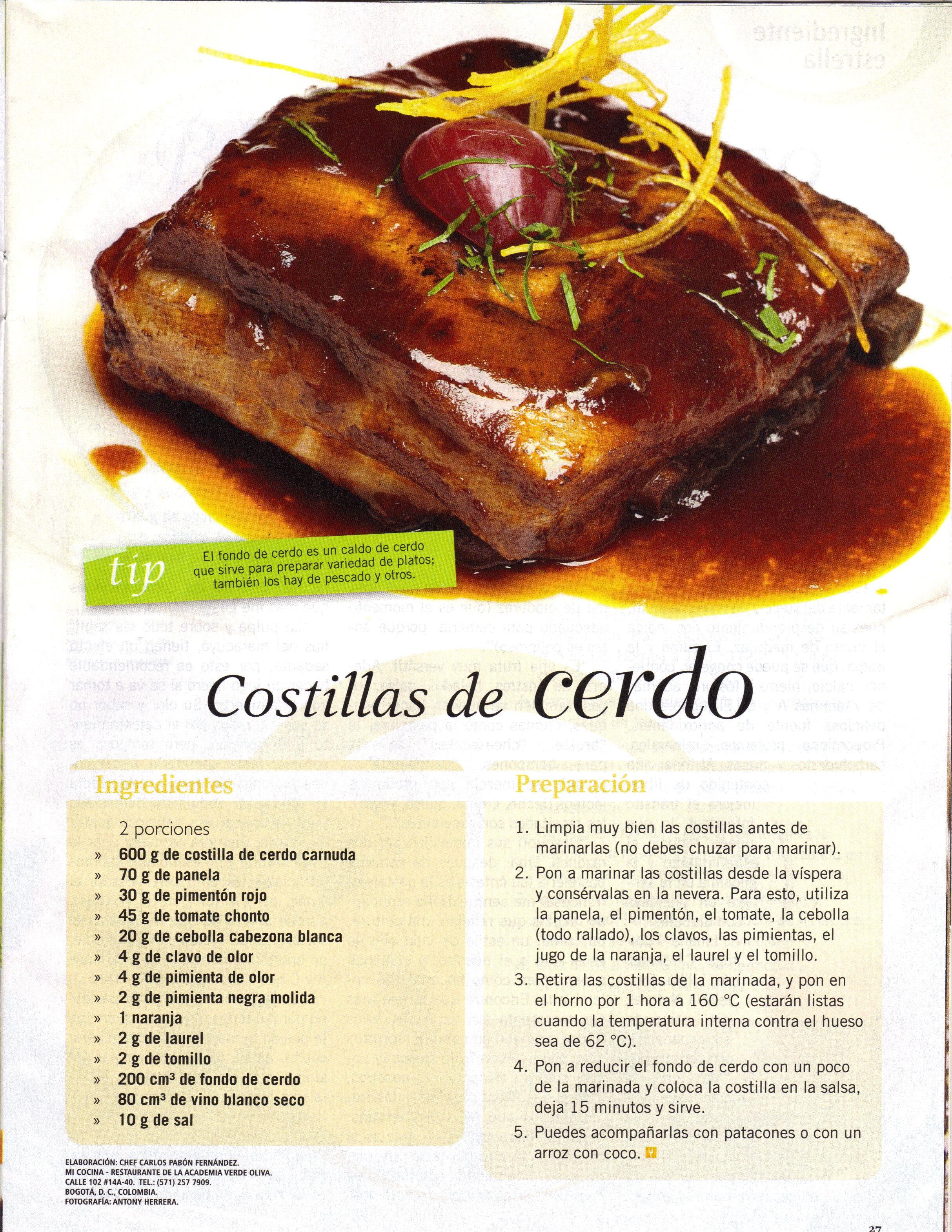 Receta Costillas de cerdo de Mi Cocina Restaurante - Academia de ...
