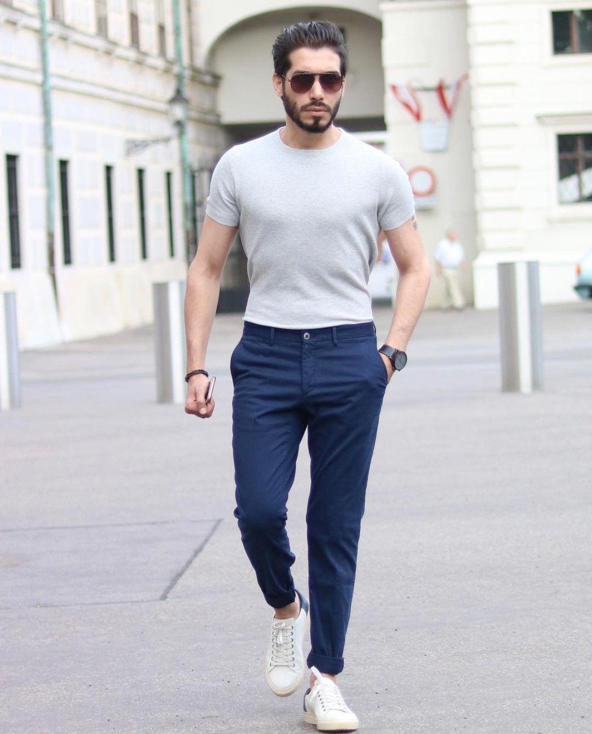 5a2a2ab5c3 Look masculino casual com calça de sarja azul