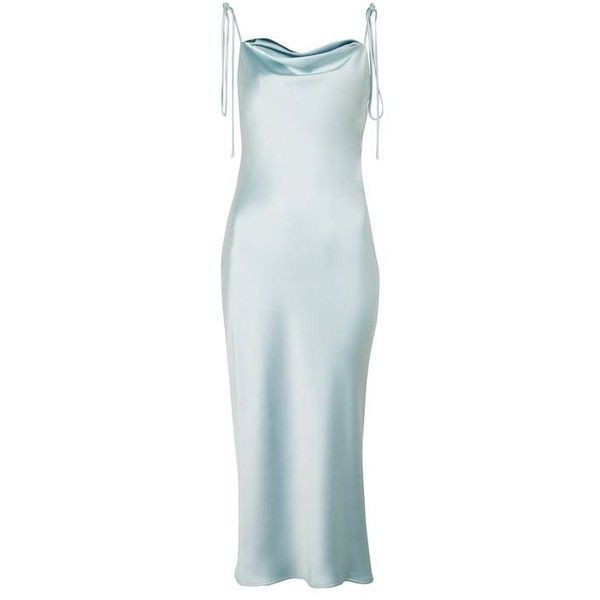 ae1e2ee5fc0d Topshop Cowl Tie Satin Slip Dress (€97) ❤ liked on Polyvore featuring  dresses, topshop, tie dress, satin dress, blue cowl neck dress, cowl dress  and ...