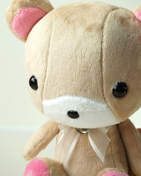 Cute Bear Plush Stuffed Animal Toy Brown w Pink by BellziPlushie, $40.00