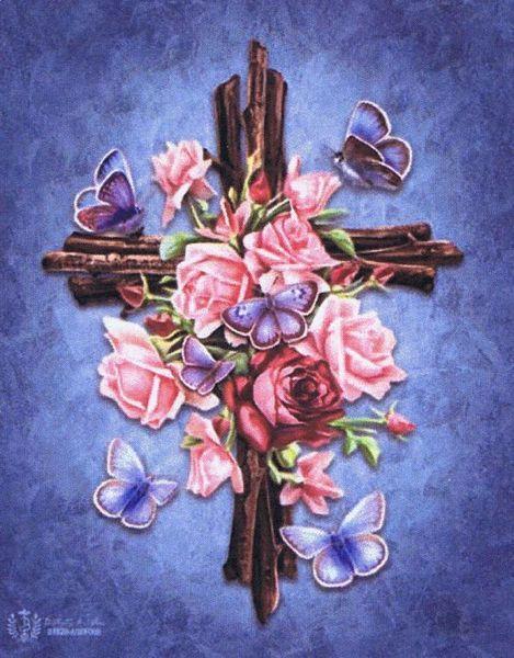 Butterfly Rose Cross Cross Stitch Pattern By Heaven And Earth Designs Cross Art Rose Art Cross Stitch Art