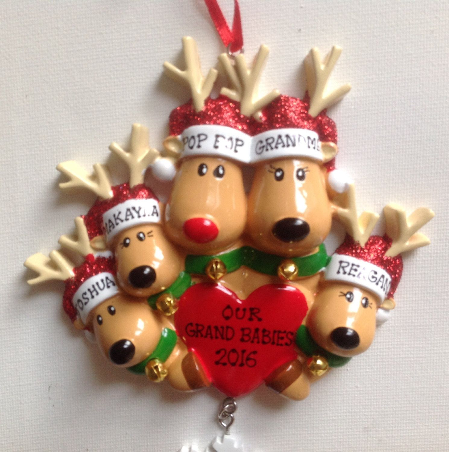 Reindeer christmas ornaments - Personalized Reindeer Christmas Ornament Family Of Five Coworkers Best Friends Bridesmaids Hostess Gift Favor