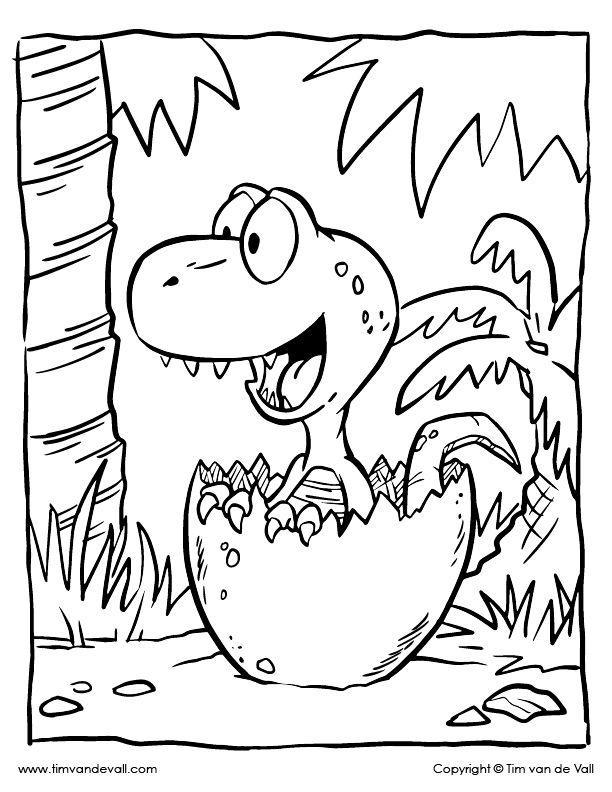 Baby dinosaur coloring page - Color the t rex hatchling ...
