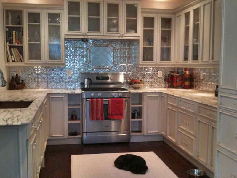 Tin Backsplash Panels With White Cabinets Tin Backsplash Kitchen