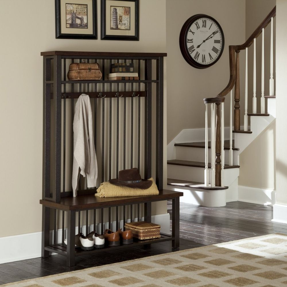 NEW Hall Tree Bench Coat Rack Entry Way Mud Room Wooden Seat Storage ...