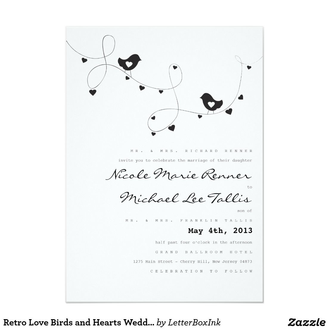 Retro Love Birds and Hearts Wedding Invitations | Heart wedding ...