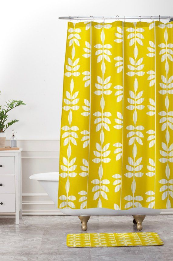 Yellow Shower Curtain Bathroom Abadi Sunburst Design