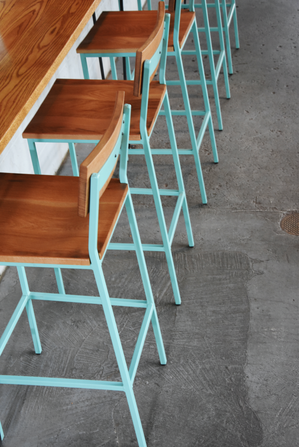 Transit stool by crow works custom powder coating seating industrial modern furniture commercial restaurant bar americanmade madeinusa