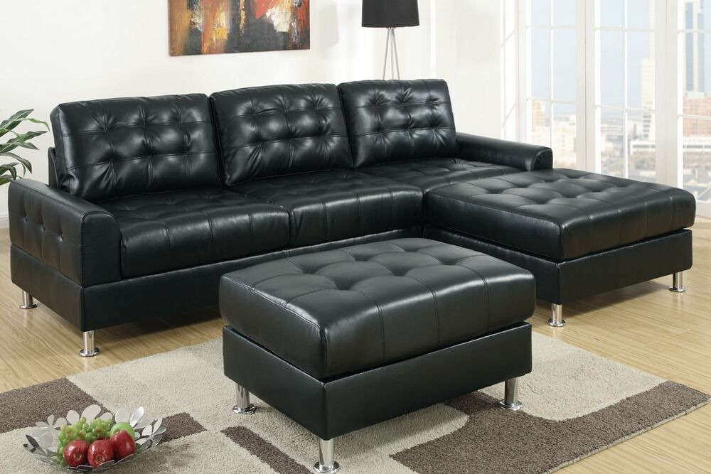 2 Pc Reversible Black Bonded Leather Sectional Sofa With Chaise