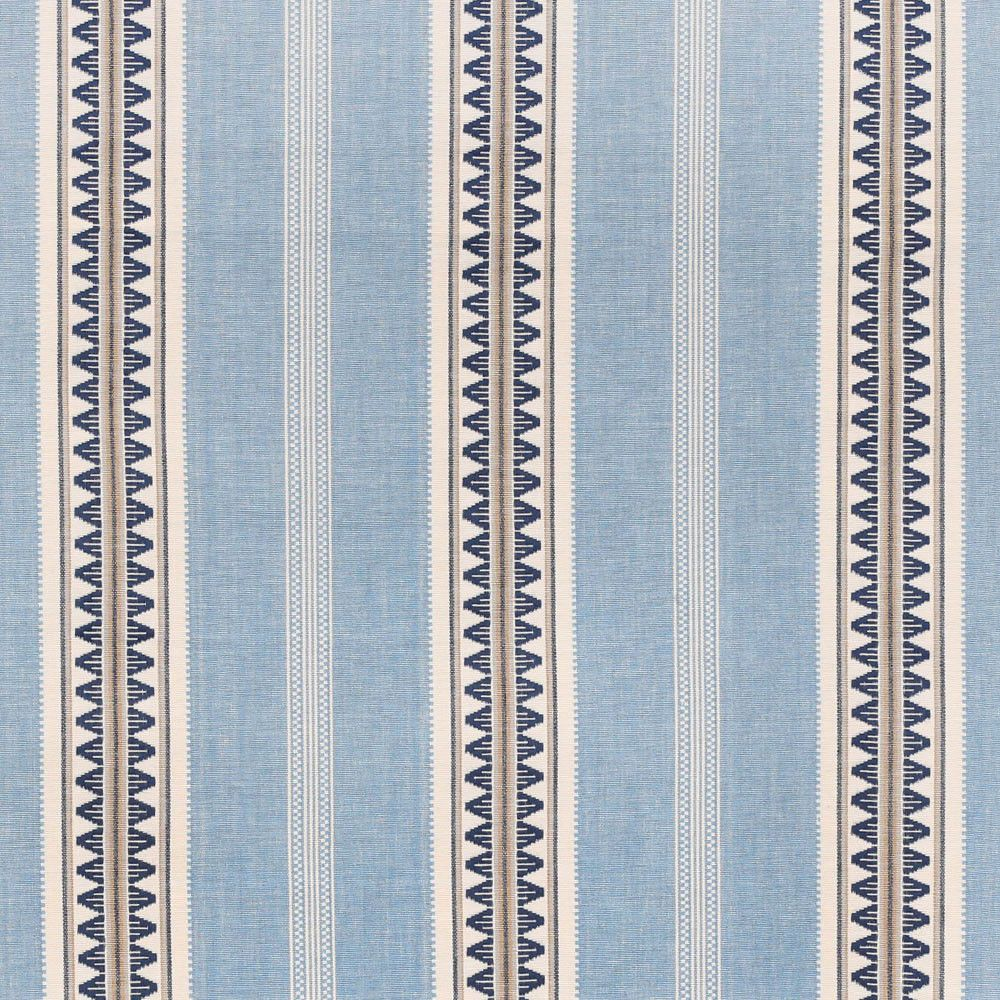 A beautiful, woven striped fabric in sky blue, navy and creamy white ...