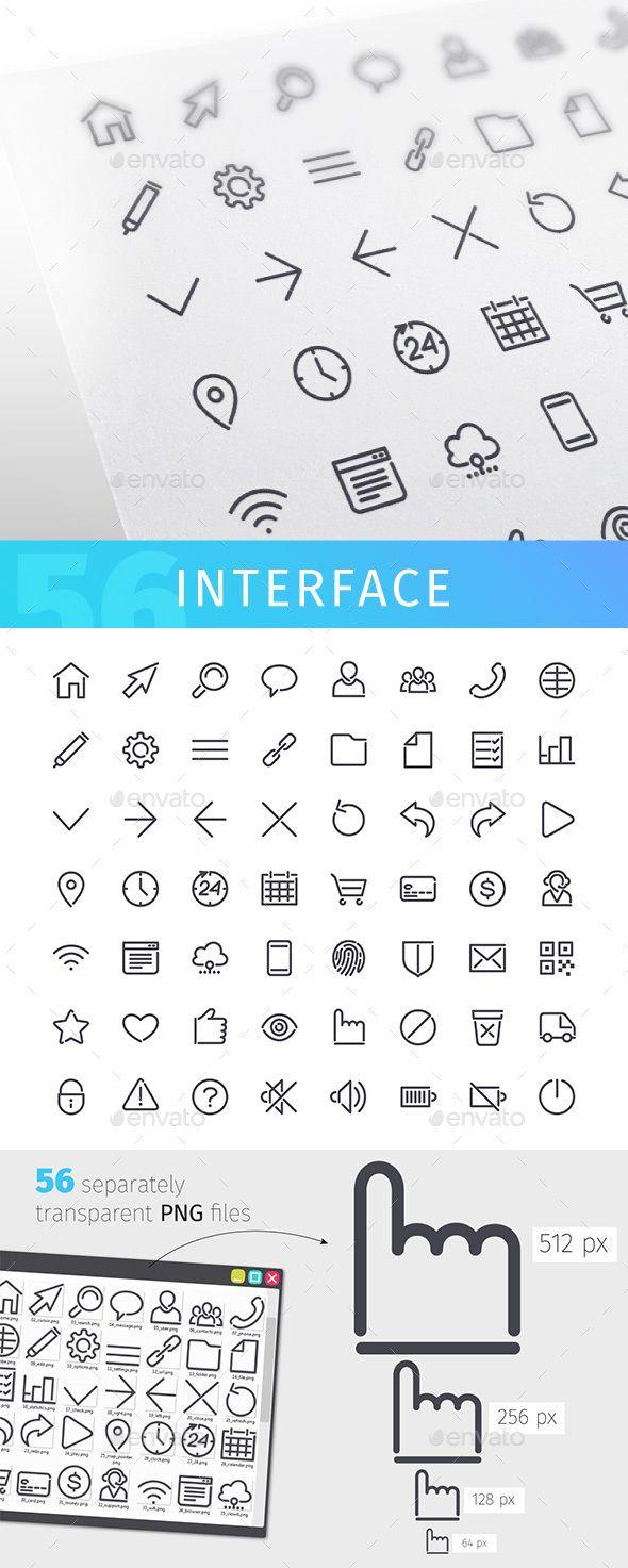 Interface Line Icons Set Icon set, Line icon, App user