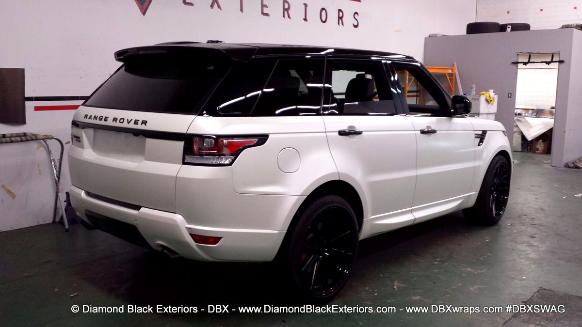 2014 Range Rover Sport Wrapped In Satin Pearl White By Dbx Diamond Black Exteriors Dbx Car Wraps I Range Rover Sport Range Rover Range Rover Supercharged