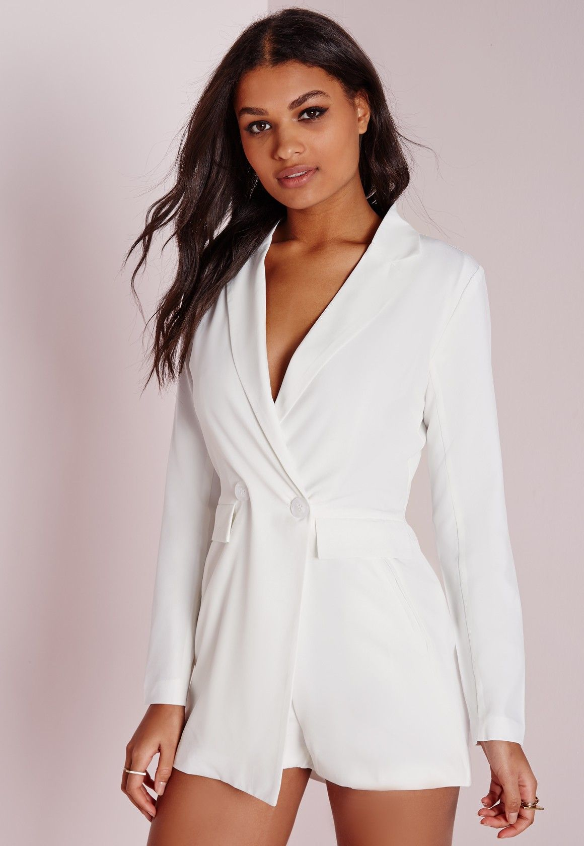 4dfb687dce4 Missguided - Tuxedo Style Long Sleeve Romper White