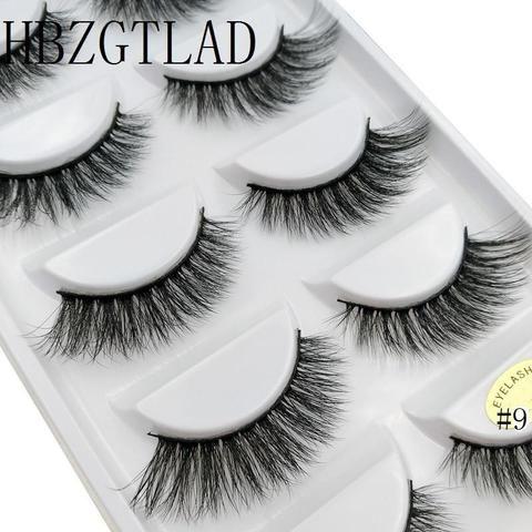 2018 New 5 Pairs 100% Real Mink Eyelashes 3d Natural False Eyelashes 3d Mink Lashes Soft Eyelash Extension Makeup Kit Cilios False Eyelashes